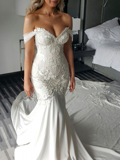 Ericdress Lace Applique Cathedral Off-The-Shoulder Mermaid Wedding Dress