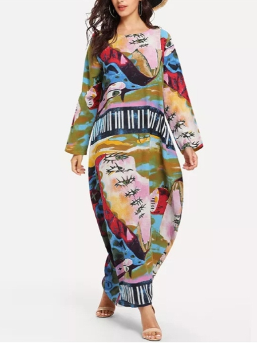Ericdress Plus Size Long Sleeve Print Pullover Color Block Dress