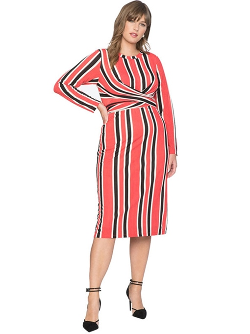 Ericdress Plus Size Round Neck Patchwork Mid-Calf Stripe Pullover Dress