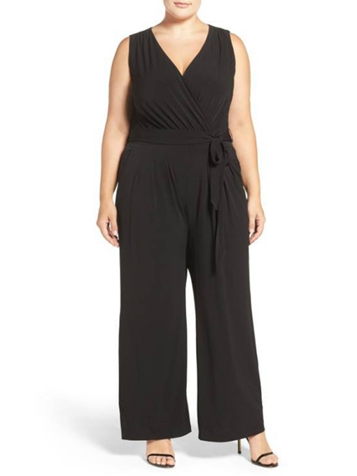 Ericdress Plus Size Lace-Up Plain High Waist Wide Legs Jumpsuit