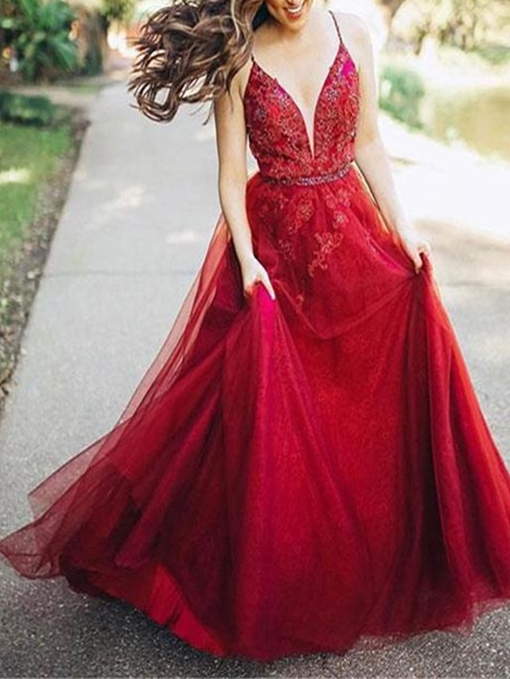 Sleeveless Floor-Length A-Line Spaghetti Straps Prom Dress