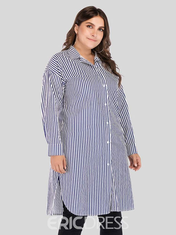 Ericdress Lapel Regular Stripe Long Sleeve Long Blouse