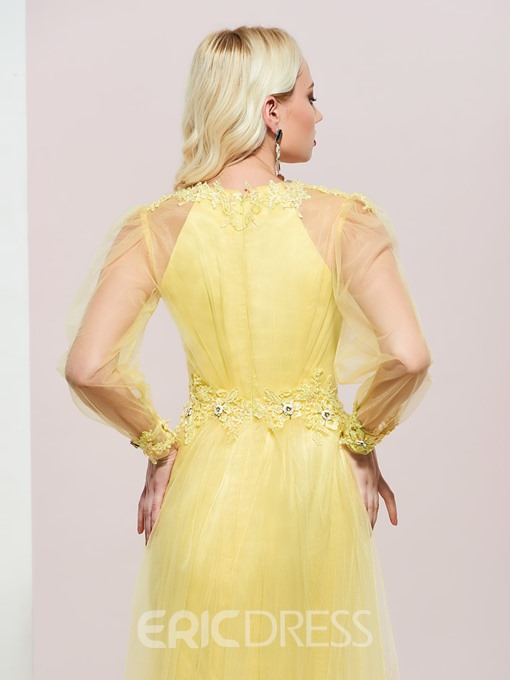 Ericdress Jewel Neck Appliques Long Sleeves Prom Dress