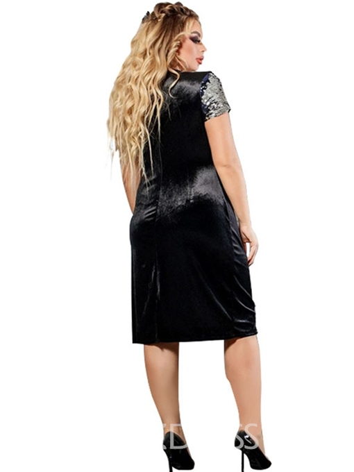 Ericdress Plus Size Short Sleeve Knee-Length Bodycon Pullover Dress
