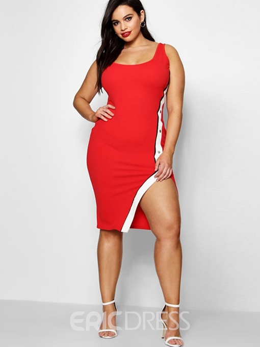 Ericdress Split Sleeveless Knee-Length Sexy Plus Size Standard-Waist Dress