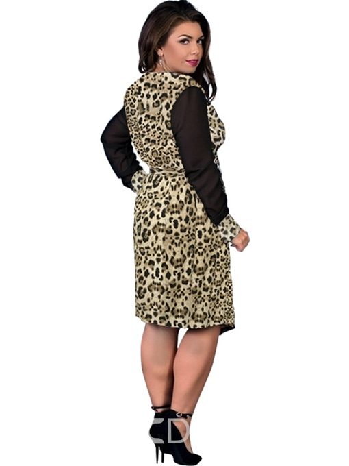 Ericdress Patchwork Long Sleeve Knee-Length Plus Size Asymmetrical Dress
