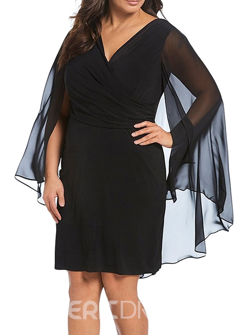 Ericdress Plus Size Patchwork Long Sleeve Knee-Length Dress