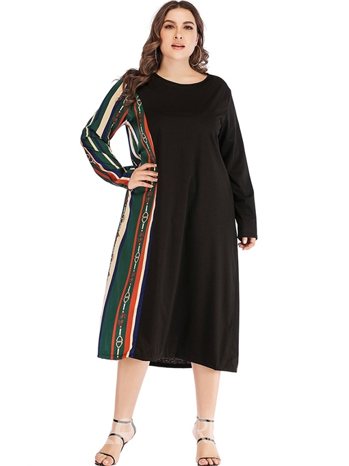 Ericdress Plus Size Patchwork Mid-Calf Round Neck Color Block Pullover Dress