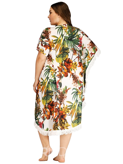 Ericdress Plus Size Print Three-Quarter Sleeve Travel Look Pullover Dress