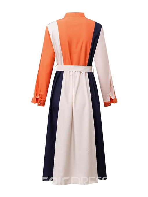 Ericdress Plus Size Lace-Up Stand Collar Standard-Waist Color Block Dress