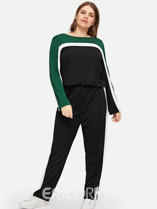 Ericdress Plus Size Patchwork Color Block Casual Hoodie And Pants Two Piece Sets