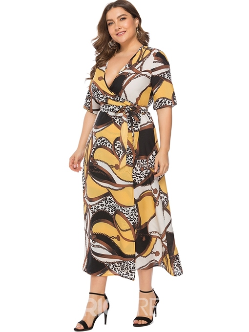 Ericdress Plus Size Mid-Calf Half Sleeve V-Neck A-Line Pullover Dress