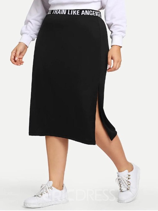Ericdress Plus Size Split Pencil Skirt High Waist Mid-Calf Skirt