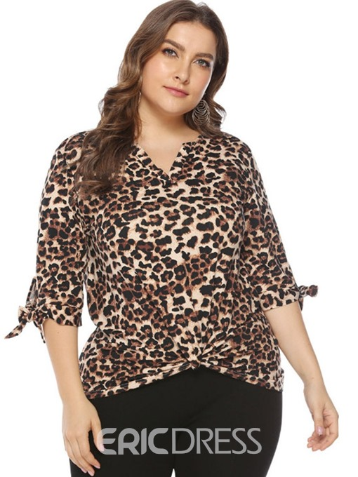Ericdress Leopard Asymmetric V-Neck Plus Size T-Shirt