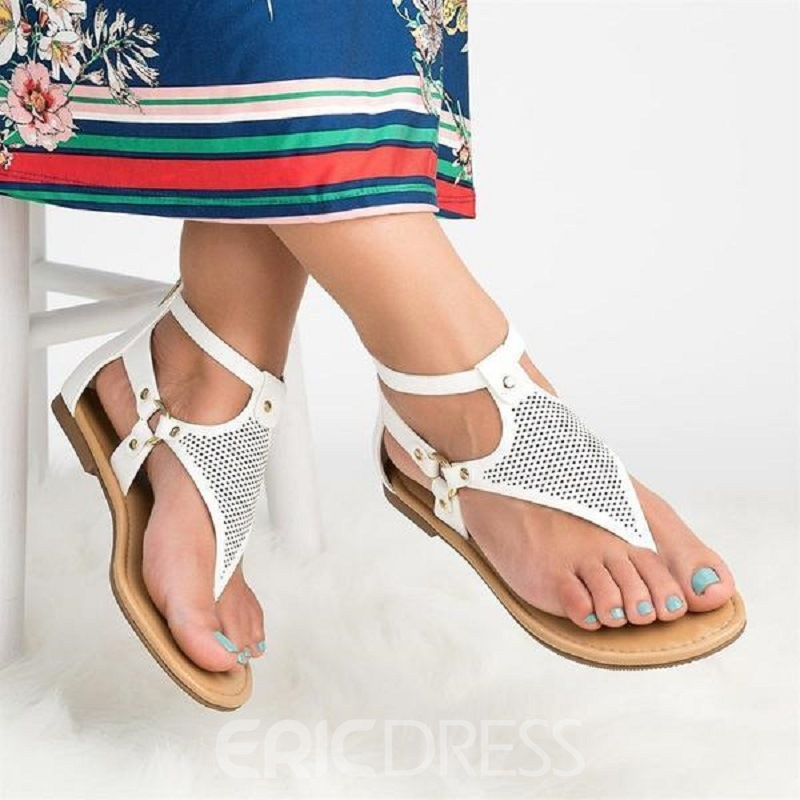 Ericdress Zipper Open Toe Vintage Women's Flat Sandals