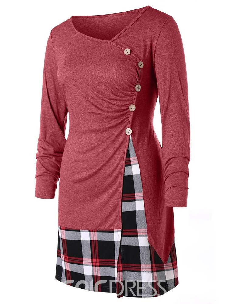Ericdress Nine Points Sleeve Color Block Mid-Length Slim Casual T-Shirt