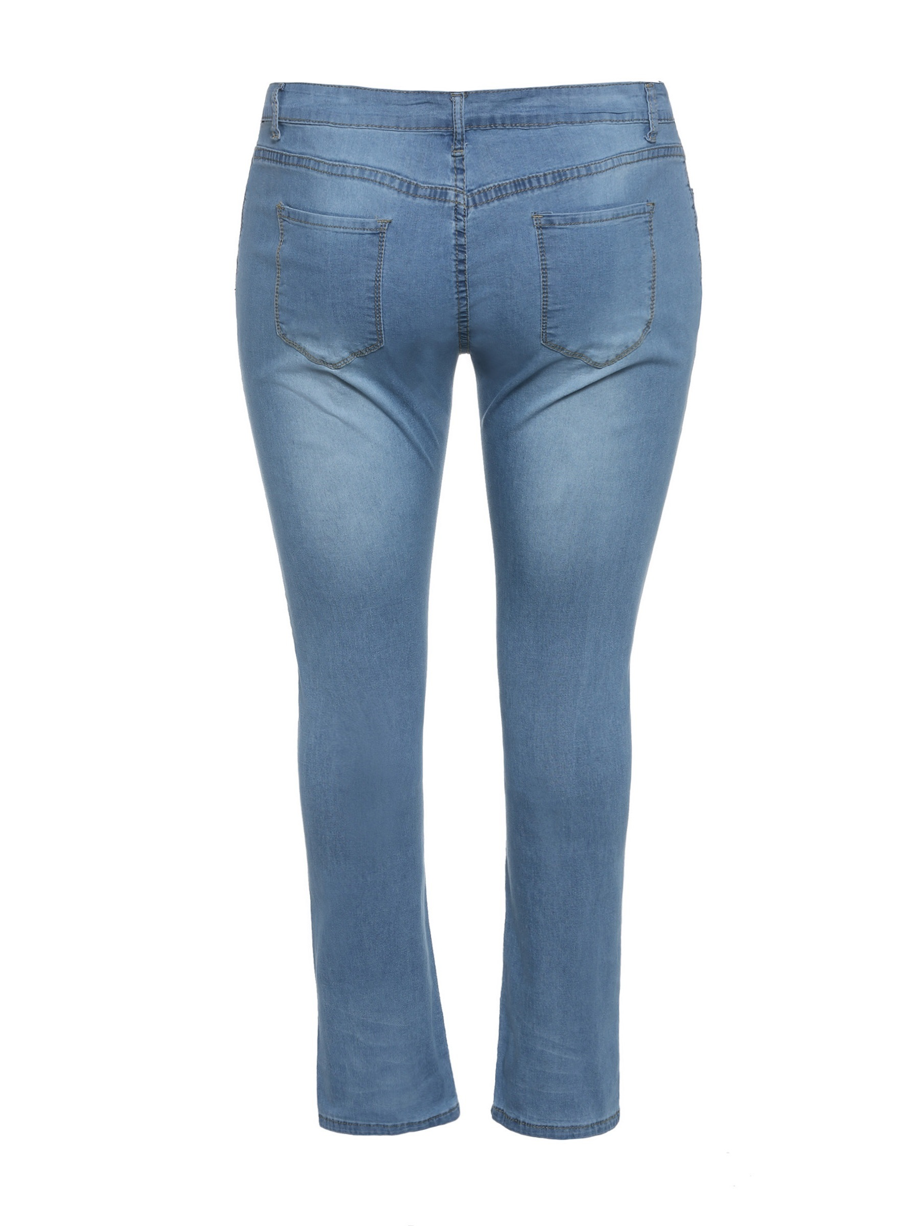 Ericdress Plus Size Plain Pencil Pants Zipper Slim Jeans
