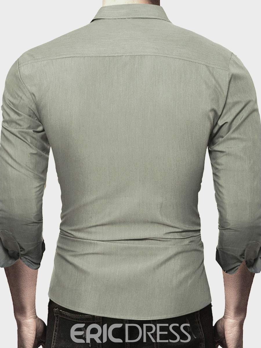 Ericdress Plain Single-Breasted Casual Slim Men's Shirt
