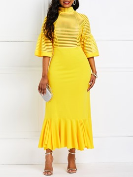 Ericdress Falbala Half Sleeve Mid-Calf Yellow Dress