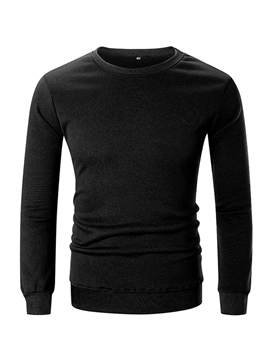 Ericdress Plain Round Neck Pullover Mens Casual T-shirts Sweatshirts