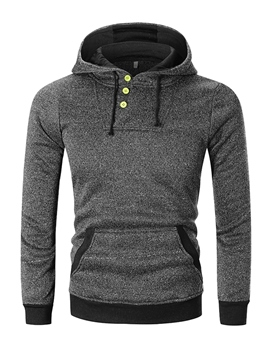 Ericdress Patchwork Hooded Button Designed Mens Pullover Hoodies