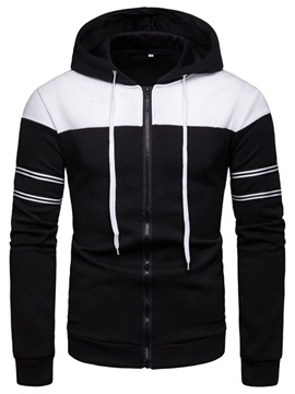 Ericdress Patchwork Striped Mens Zipper Cardigan Hoodies