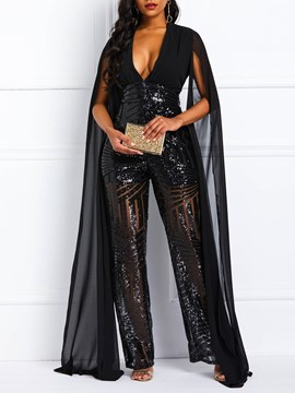 Ericdress Sequins Patchwork See-Through Overlay Embellished Women's Jumpsuit