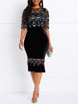 Ericdress Lace Bodycon Half Sleeve Mid-Calf Elegant Dress