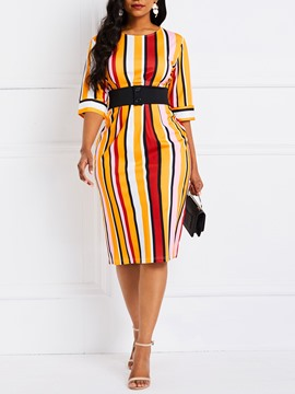 Ericdress Stripe Color Block Bodycon Dress