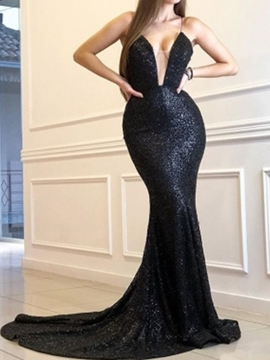 Sequins Spaghetti Straps Trumpet Sleeveless Evening Dress