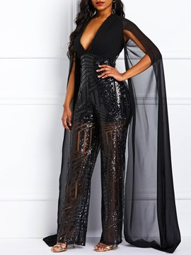 Ericdress Sequins Patchwork See-Through Wide Legs Women's Jumpsuits