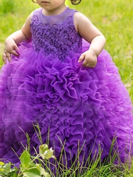 Ericdress Ball Gown Lace Ruffles Flower Girl Dress 2019