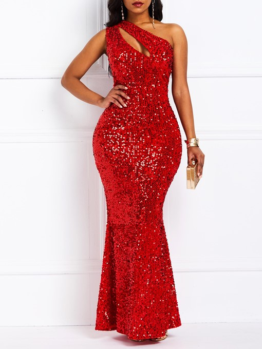 Ericdress Oblique Collar Sequins Floor-Length Sexy Mermaid Dress