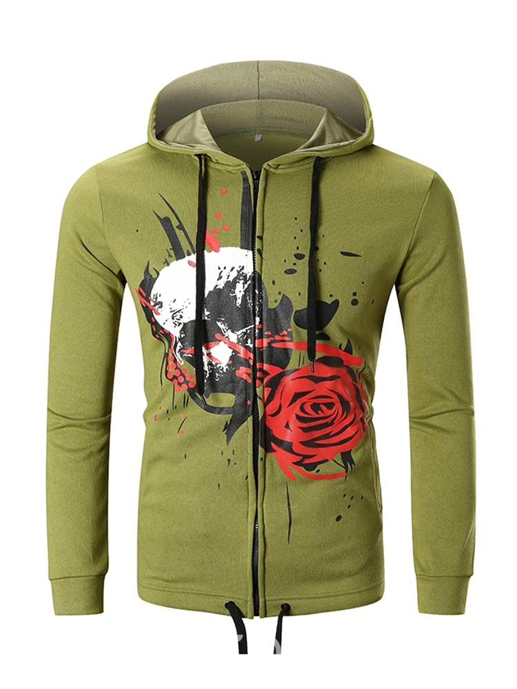 Ericdress Floral Printed Zipper Mens Casual Cardigan Hoodies