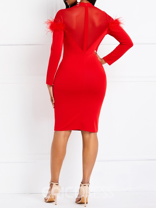 Ericdress Long Sleeve Feather Mesh Patchwork Bodycon Red Dress