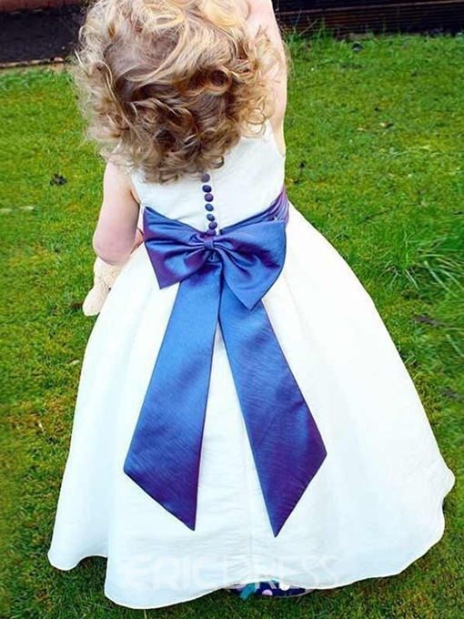 Ericdress Scoop Neck Button A-Line Bowknot Flower Girl Dress