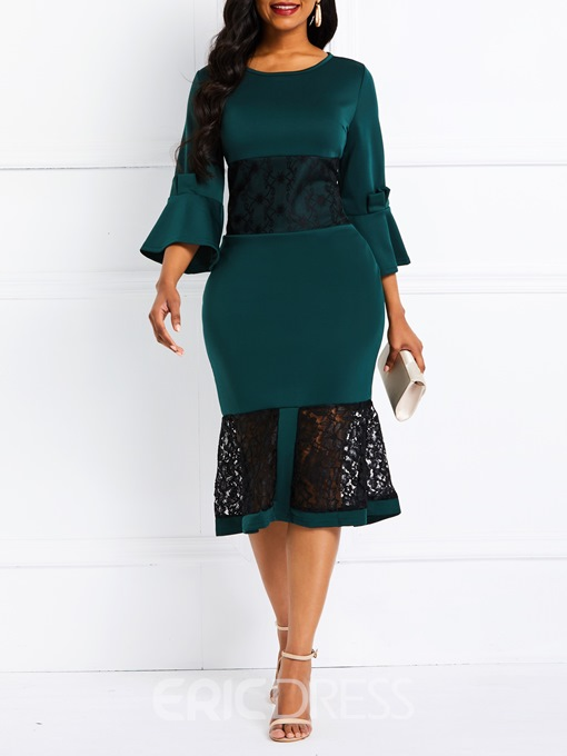 Ericdress Round Neck Three-Quarter Sleeve Lace Patchwork Date Night Dress