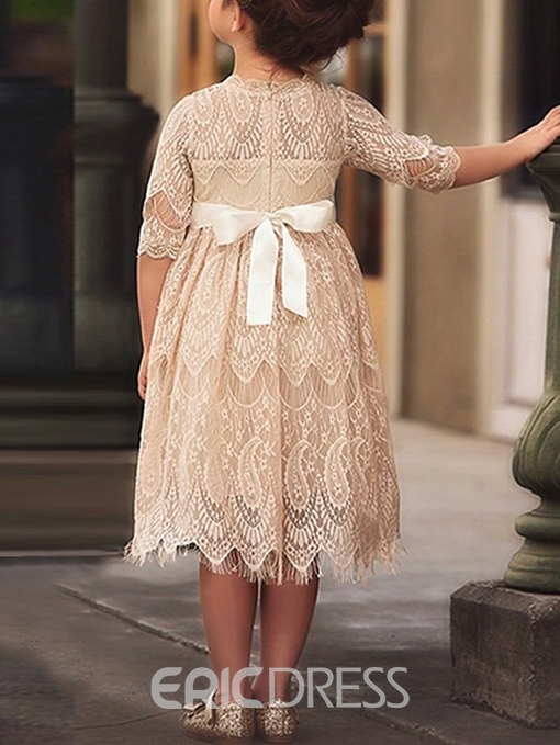 Ericdress Beading Tea-Length Sleeves Lace Flower Girl Dress