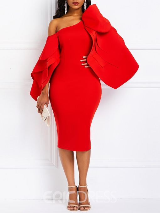 Ericdress Long Sleeve Knee-Length Ruffle Sleeve Off Shoulder Bodycon Dress