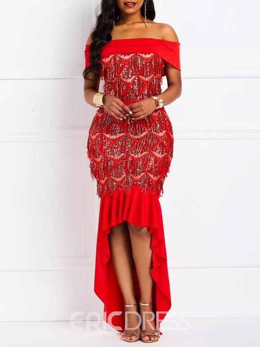 Ericdress Sequins Slash Neck Asymmetric Off Shoulder Dress