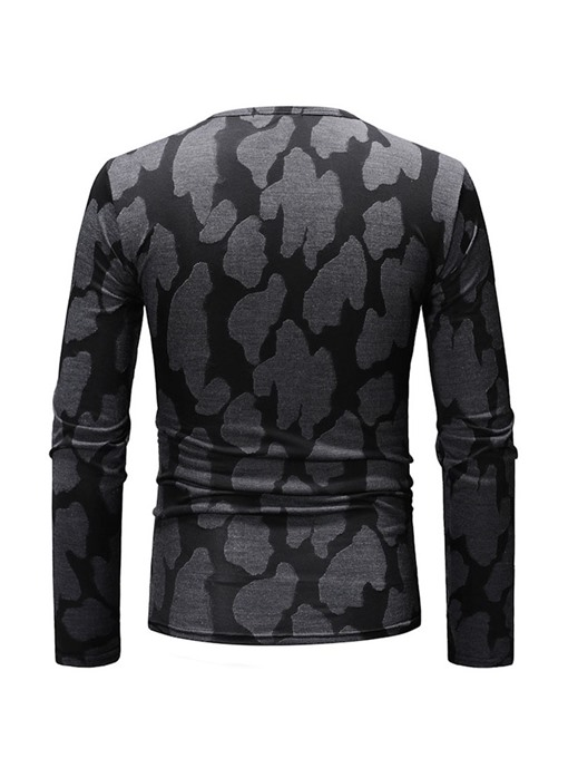 Ericdress Printed Round Neck Long Sleeve Mens Casual T-shirt