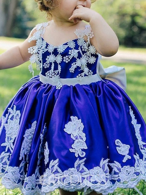 Ericdress Bowknot Spaghetti Straps Tea-Length Flower Girl Dress
