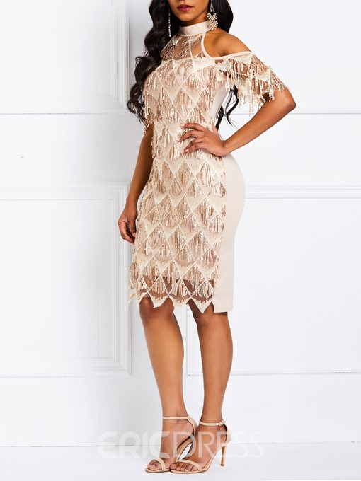 Ericdress Sequins Stand Collar Date Night Party Dress