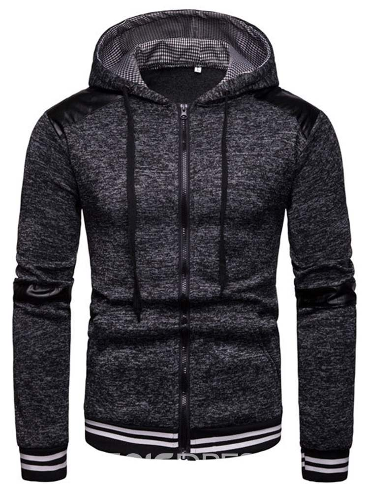 Ericdress Patchwork Striped Hooded Mens Casual Cardigan Hoodies