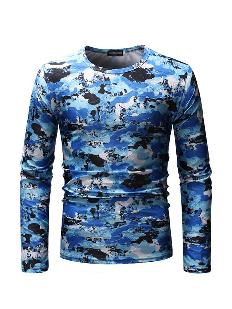 Ericdress Camouflage Printed Long Sleeve Mens Casual T-shirt