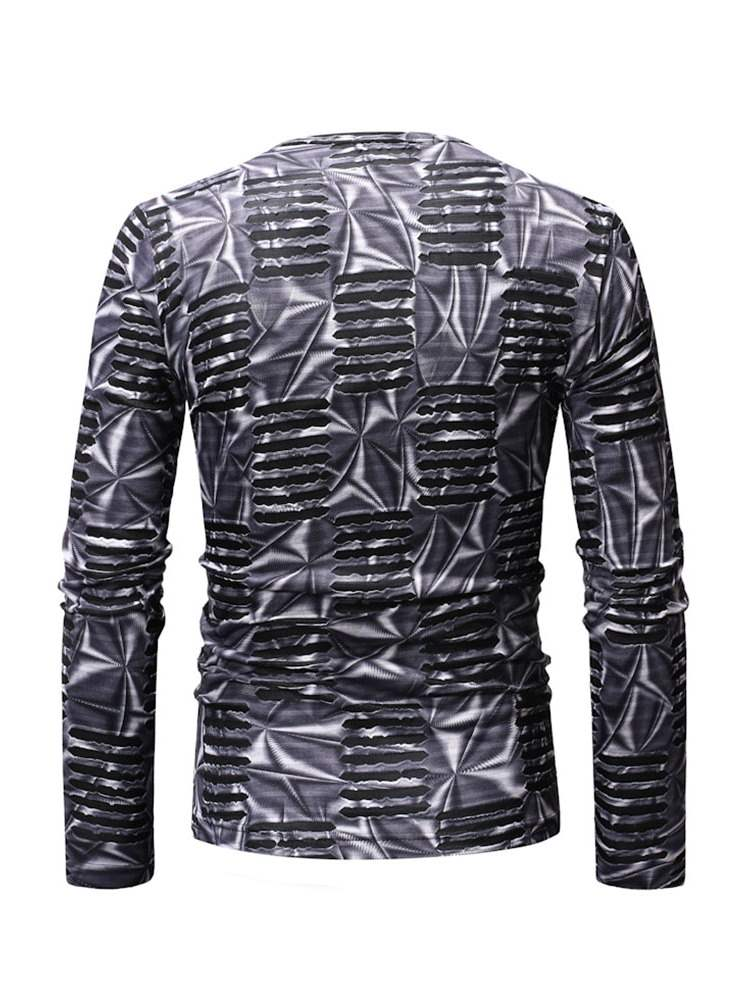 Ericdress Striped Round Neck Mens Casual Long Sleeve T-shirt