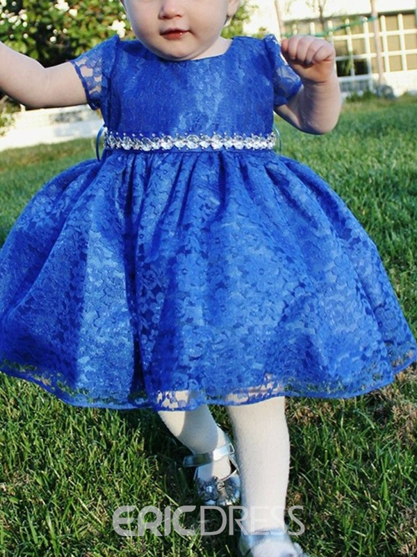 Ericdress Lace Knee-Length Short Sleeves Flower Girl Dress