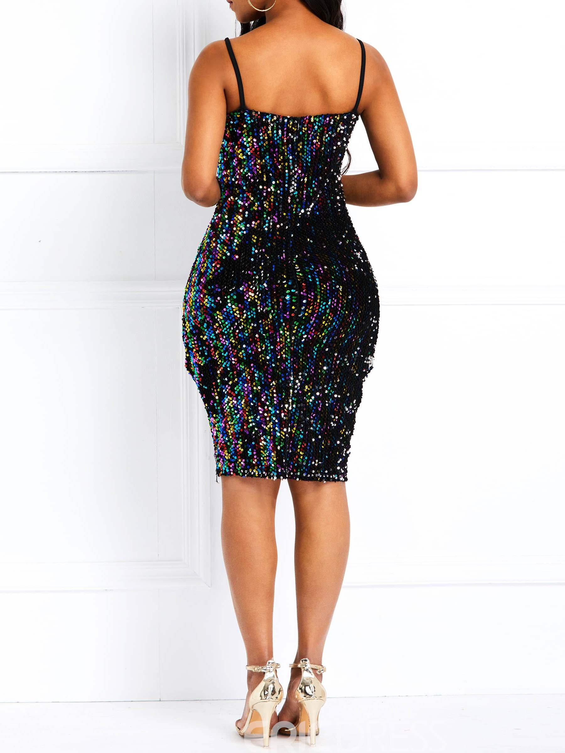 Ericdress Sequins Sleeveless Above Knee Spaghetti Strap Sexy Dress