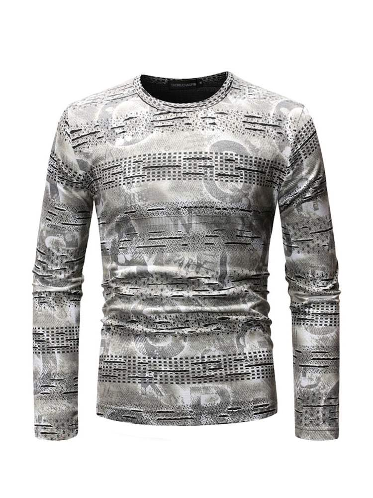 Ericdress Letter Printed Long Sleeve Mens Casual T-shirt