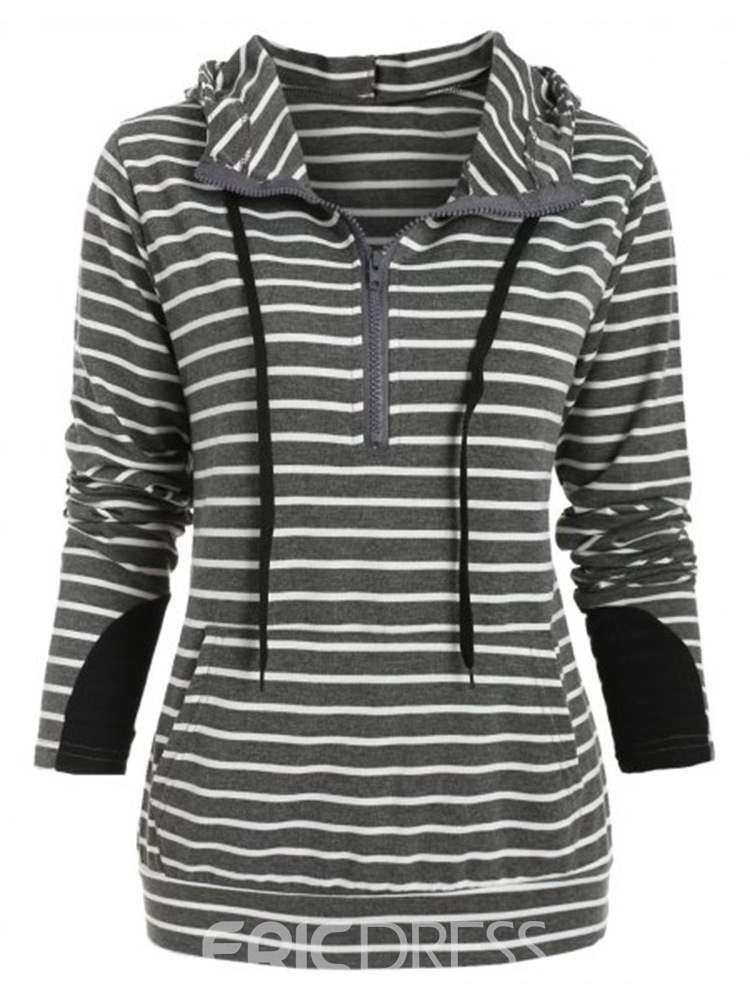 Ericdress Zipper Stripe Zipper Standard Fall Hoodie
